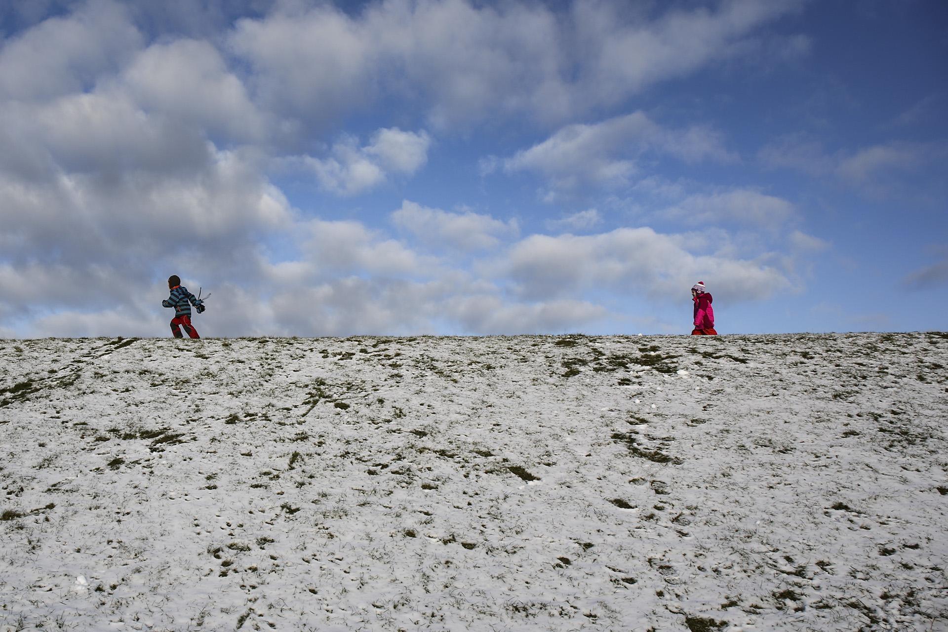 Schneeengel mit Sandgrundierung